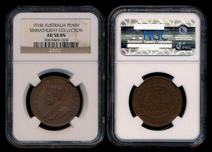 Australia KGV Penny 1918I NGC AU58BN