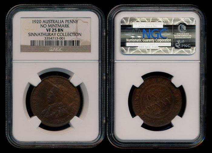 Australia KGV Penny 1920 no mintmark NGC