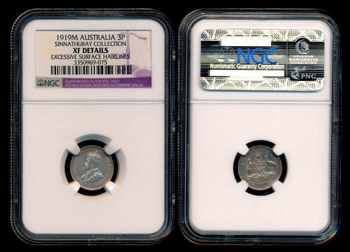 Australia KGV 3 Pence 1919M NGC XF Details