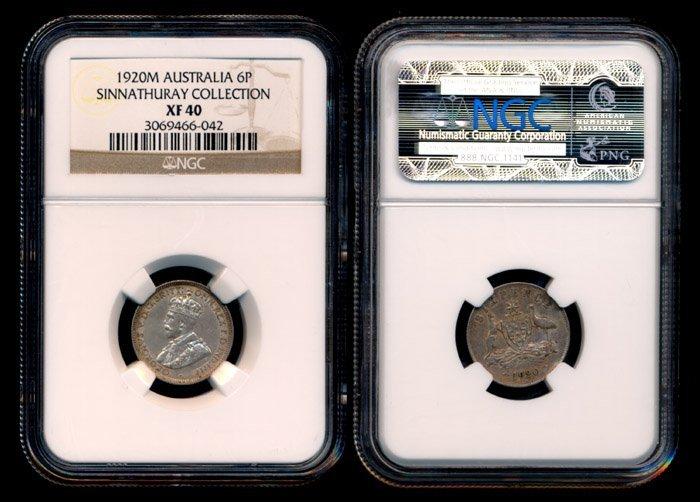 Australia KGV 6 Pence 1920M NGC XF40