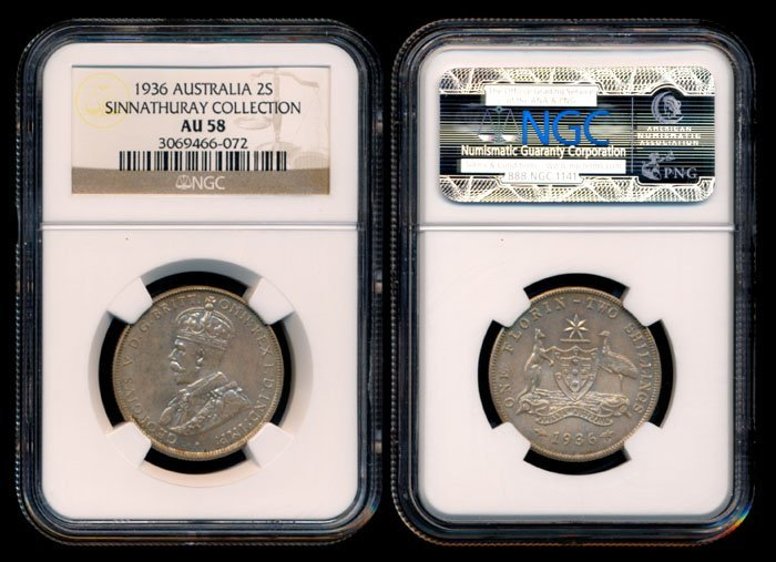 Australia KGV 2 Shillings 1936(m) NGC AU58