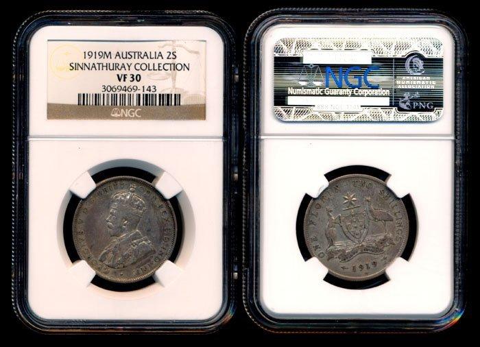 Australia KGV 2 Shillings 1919M NGC VF30