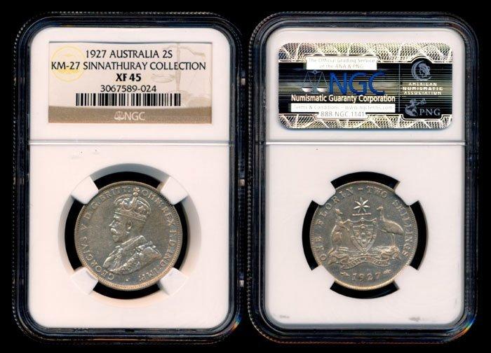 Australia KGV 2 Shillings 1927 NGC XF45