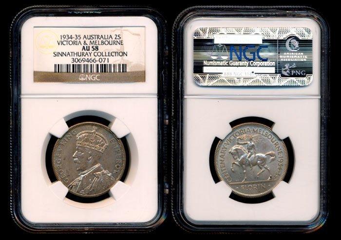 Australia KGV 2 Shillings 1934-35 NGC