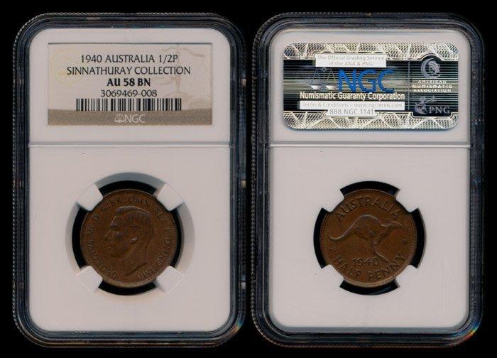 Australia KGVI 1/2 Penny 1940(m) NGC AU58BN