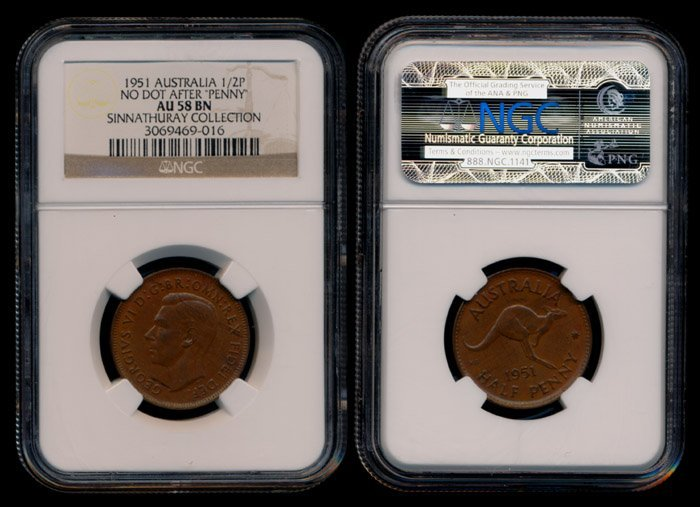 Australia KGVI 1/2 Penny 1951(p) no dot