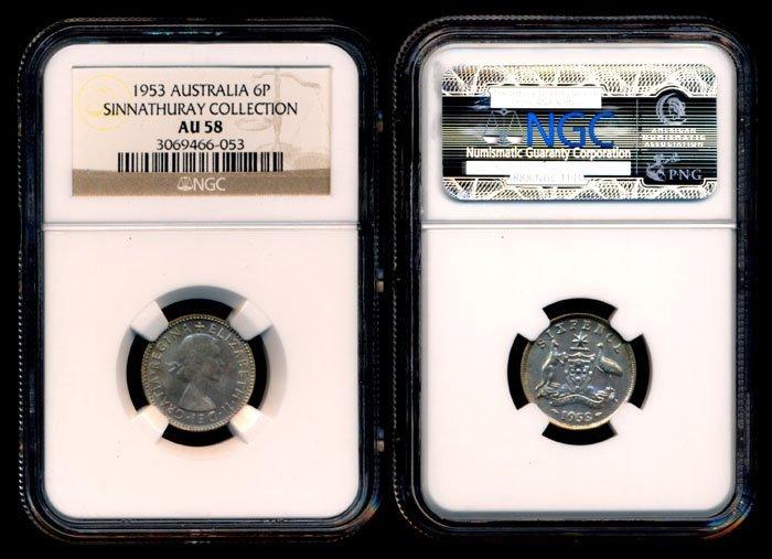 Australia QEII 6 Pence 1953(m) NGC AU58