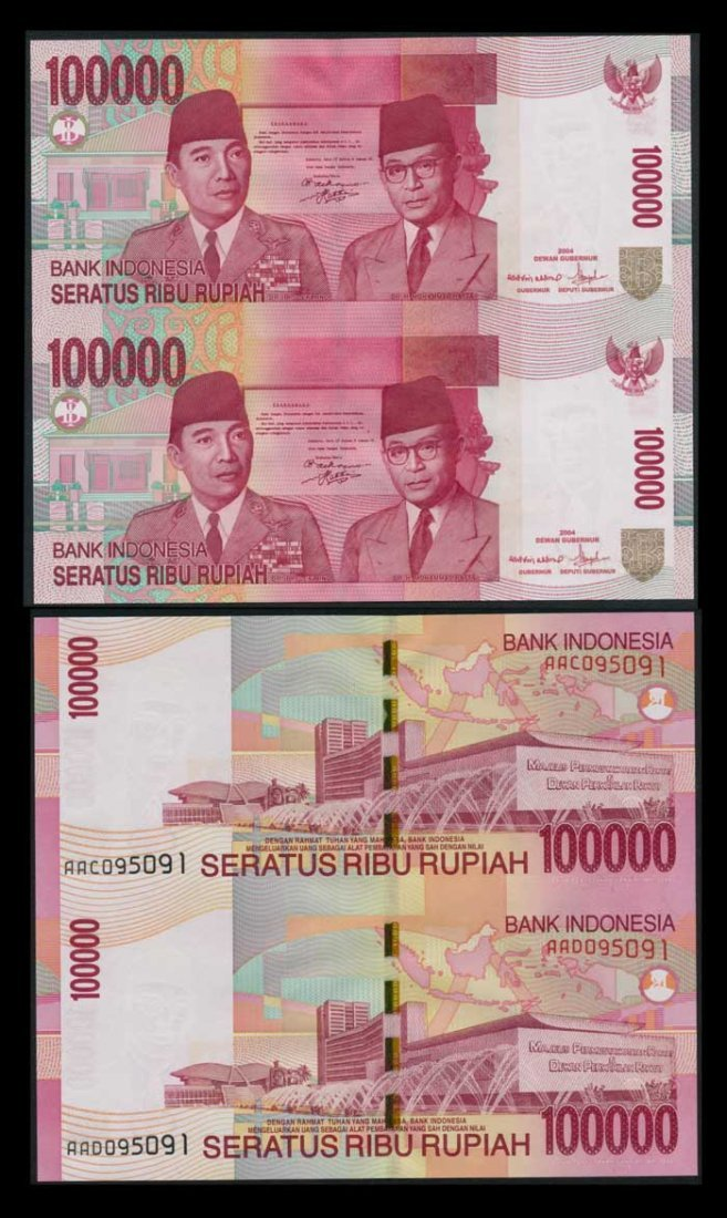 Indonesia 100000 Rupiah 2004 uncut sheet