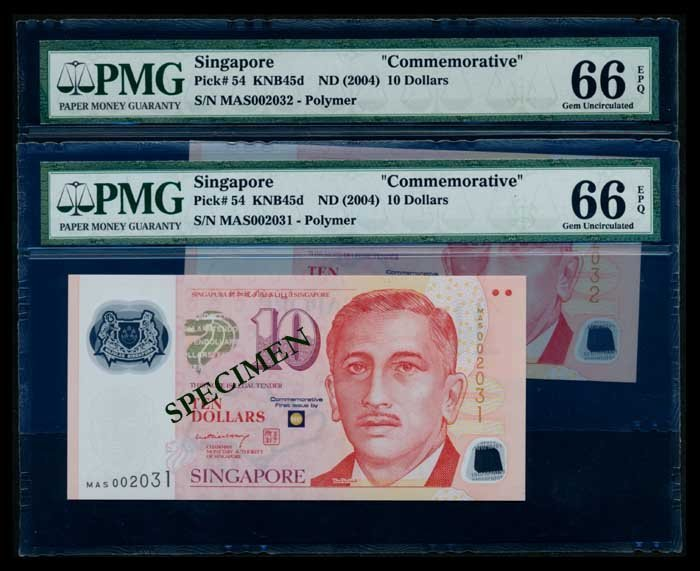 Singapore 2x$10 2004 LHL PMG