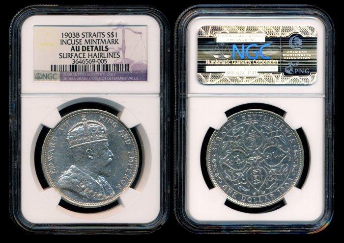 Straits Settlements KEVII $1 1903B incuse B