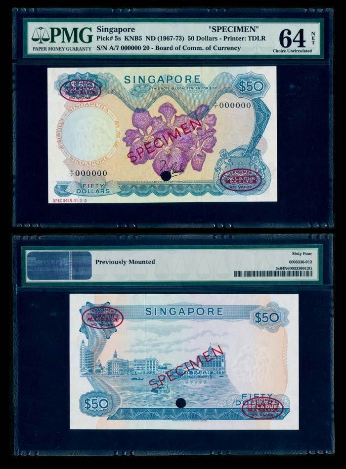 Singapore $50 1967 LKS specimen PMG