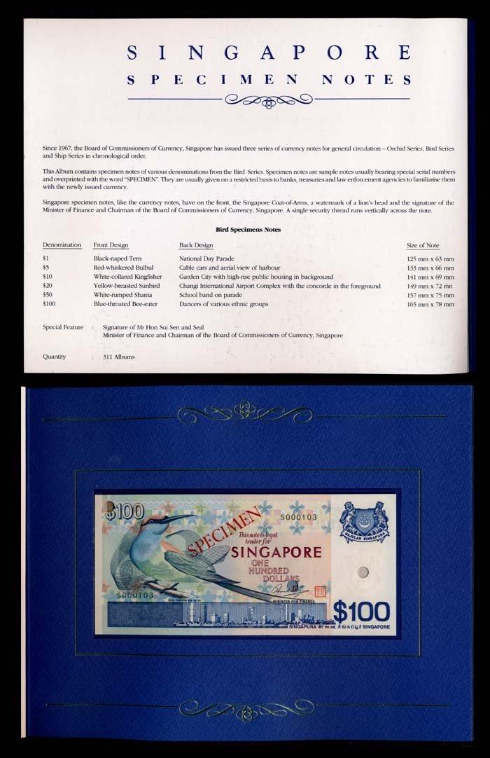 6 Singapore $1-$100 1976-79 bird specimens