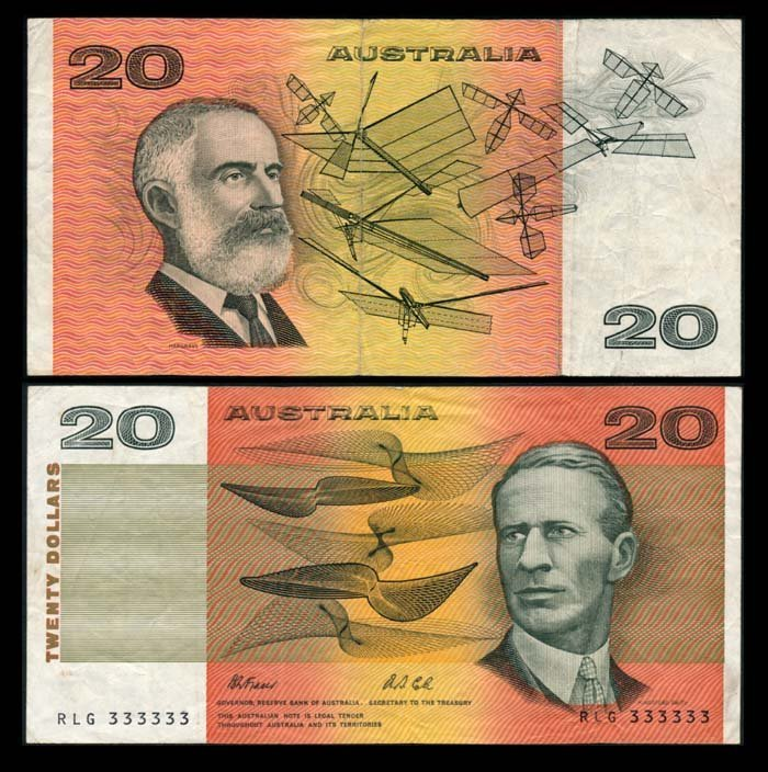 Australia $20 1991 RLG 333333 AVF