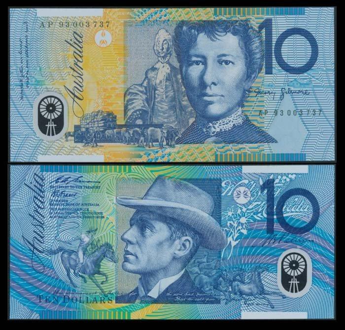 Australia $10 1993-94 & stamps