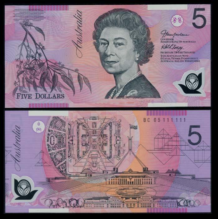 Australia $5 2005 QEII BC 05 111111 AU-UNC