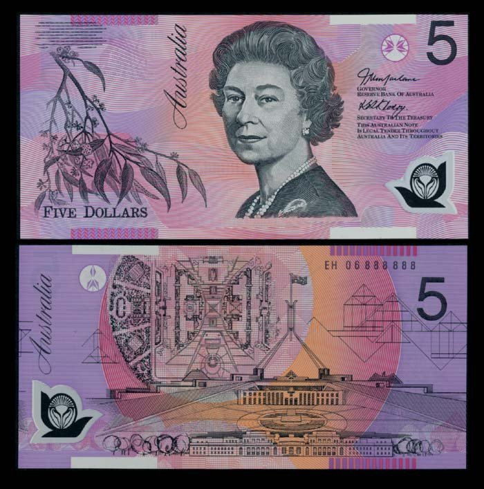Australia $5 2006 QEII EH 06 888888 AU-UNC