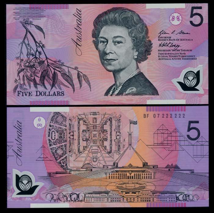 Australia $5 2007 QEII BF 07 222222 AU-UNC