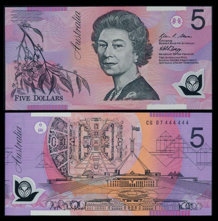 Australia $5 2007 QEII CG 07 444444 AU-UNC