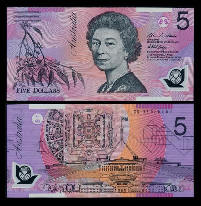 Australia $5 2007 QEII CG 07 555555 AU-UNC