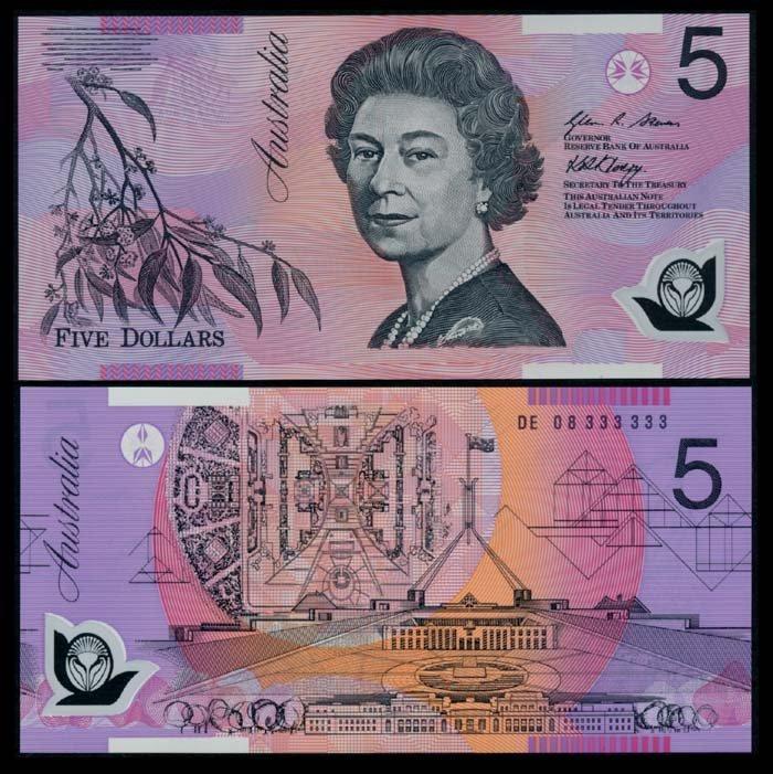 Australia $5 2008 QEII DE 08 333333 AU-UNC