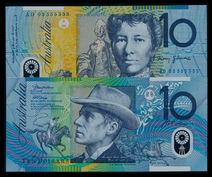 2 Australia $10 2003 AC AD 03 555555 AU-UNC