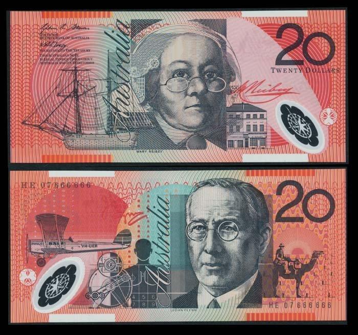 Australia $20 2007 HE 07 666666 AU-UNC