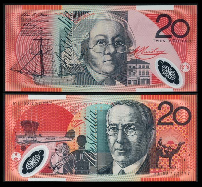 Australia $20 2008 FI 08 777777 AU-UNC