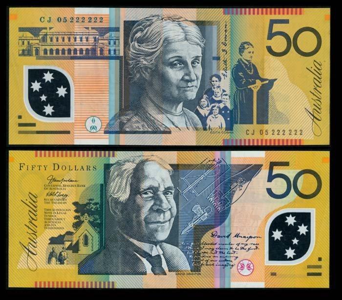 Australia $50 2005 CJ 05 222222 GVF-AEF