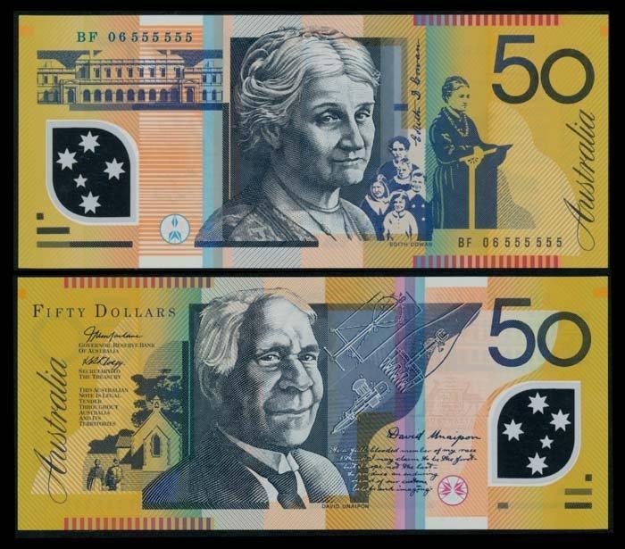 Australia $50 2006 BF 06 555555 AU-UNC