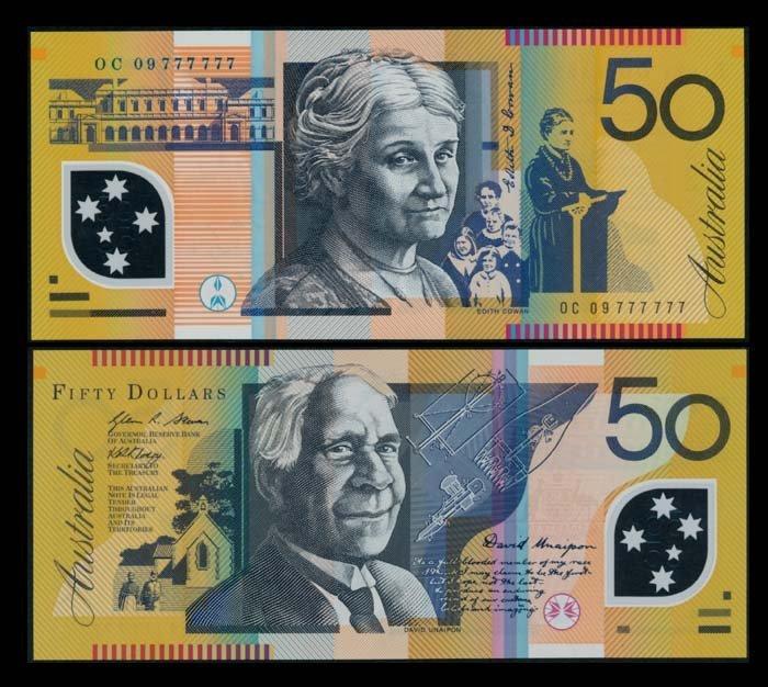 Australia $50 2009 0C 09 777777 AU-UNC