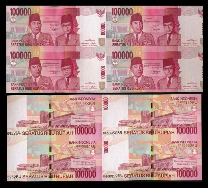 Indonesia 100000Rupiah 2004 uncut sheet of 4