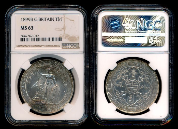British Trade Dollars 1899B NGC MS63