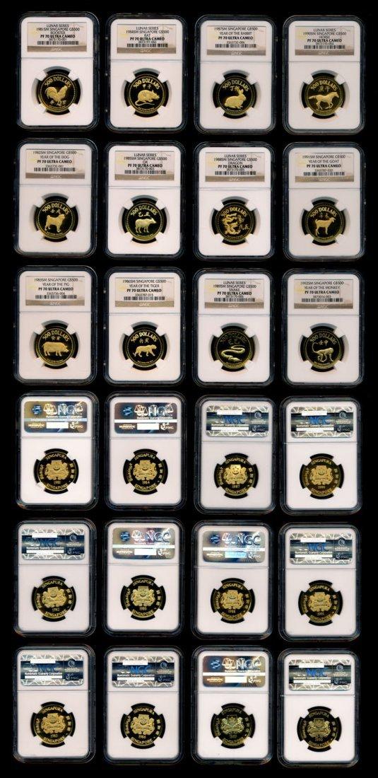 12 Singapore $500 gold Lunar series 1981-92