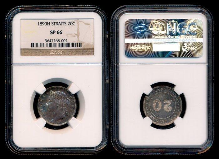 Straits Settlements QV 20c 1890H specimen