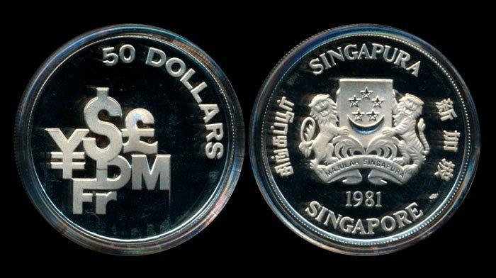 Singapore $50 1981SM silver proof