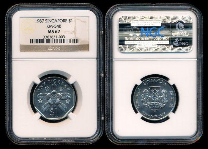 Singapore $1 1987 NGC MS67