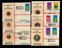 6 Singapore 1c-$1 1972 proofs