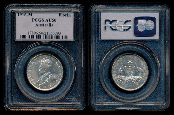 Australia KGV 2 Shillings 1916M PCGS AU50