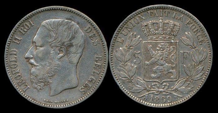 Belgium Leopold II 5 Francs 1869 VF