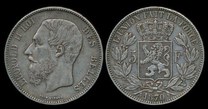 Belgium Leopold II 5 Francs 1870 VF