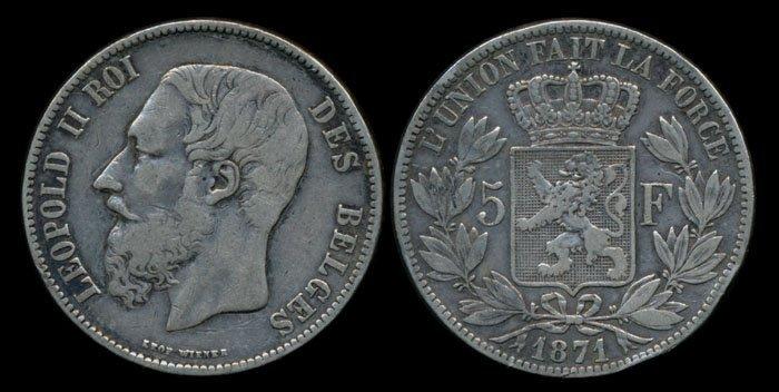 Belgium Leopold II 5 Francs 1871 VF