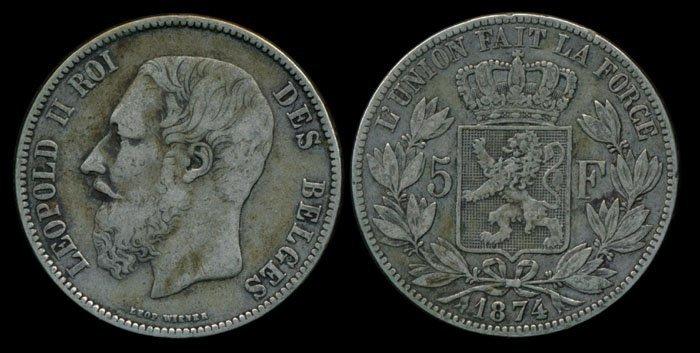 Belgium Leopold II 5 Francs 1874 VF
