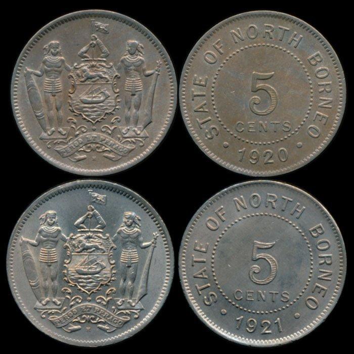 British North Borneo 2x5c 1920H 1921H