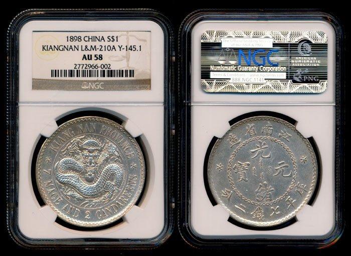 China Empire Kiangnan $1 1898 NGC AU58