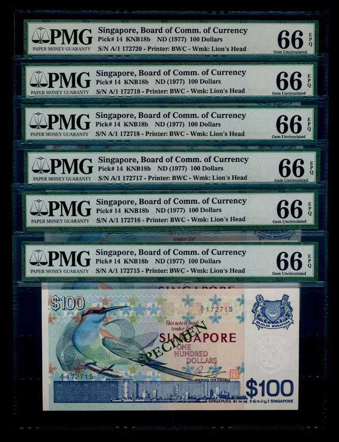 Singapore 6x$100 1977 bird 1st prefix PMG