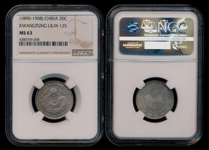China Empire Kwangtung 20c 1890-1908 NGC