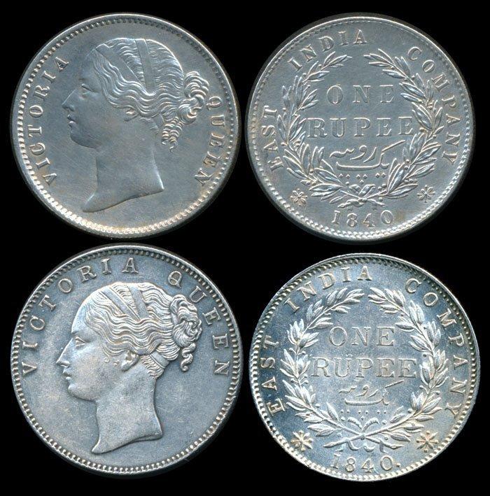 India British India EIC QV Rupee 1840(b) (c)