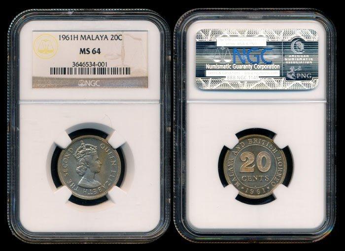 Malaya Br Borneo QEII 20c 1961H NGC MS64