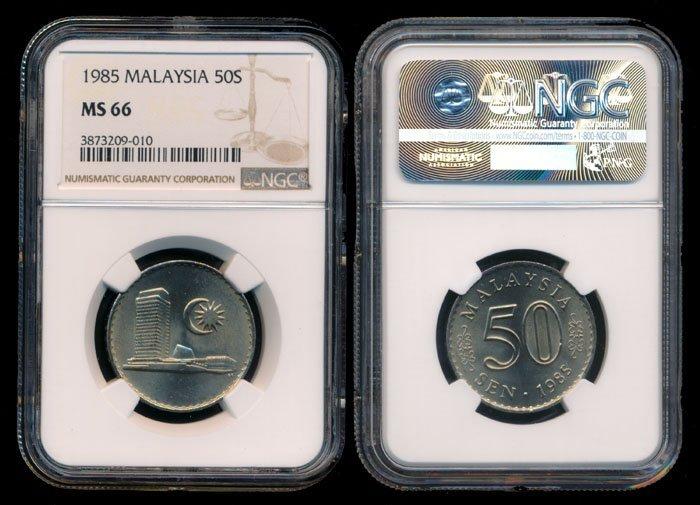 Malaysia 50 Sen 1985 NGC MS66