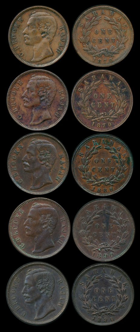 Sarawak C Brooke 5x1c 1870-90 EF-AU